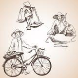越南人剪影用果子、自行车和小船 库存例证