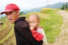 越南人米大阳台河边的o Hmong孩子在Y TY镇 免版税库存照片