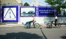 越南人,出租机动三轮车司机 图库摄影
