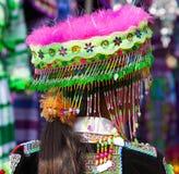 越南人Hmong尝试新的传统服装的少数女孩 库存照片