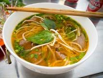越南传统Pho Bo发牢骚汤面 免版税库存照片