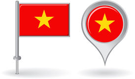 越南别针象和地图尖旗子 向量 免版税库存照片