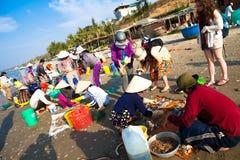 越南和美国金奈渔村市场 库存照片