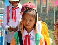 越南女小学生 免版税图库摄影