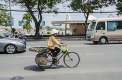 越南妇女骑自行车者 库存图片