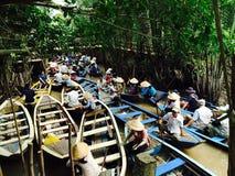 越南小船交通 库存图片