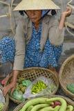 越南摊贩在会安市 库存图片