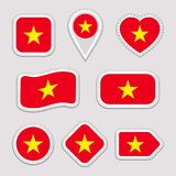 越南旗子传染媒介集合 越南语下垂贴纸汇集 被隔绝的几何象 国家标志徽章 网 向量例证