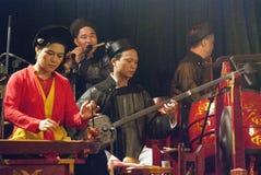越南水木偶音乐家 免版税图库摄影
