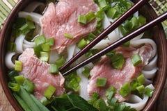 越南汤用牛肉, Pho Bo 水平的看法从上面 免版税库存图片