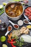越南汤的Pho Bo成份 免版税库存图片