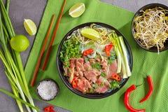 越南汤Pho Bo用牛肉 库存图片