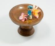 越南玩偶和羽毛花在木盘子 免版税图库摄影