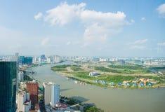 越南的全景视图ho池氏极小的城市 免版税库存照片