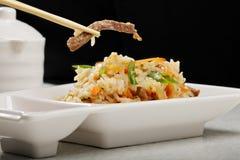 越南肉饭用在的牛肉筷子 免版税库存照片