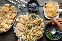 越南街道食物, com chay cha发出当当声 库存照片