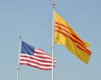 越南语的美国国旗 库存图片