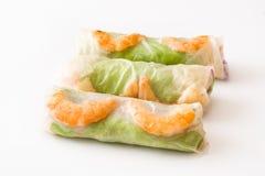 越南语滚动与菜、被隔绝的米线和大虾 库存图片