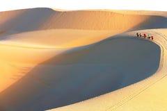 越南走在与阴影的沙丘在日出期间 库存图片