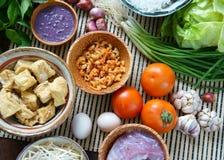 越南食物,小圆面包rieu, bunrieu,越南吃 库存图片
