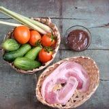 越南食物,虾酱厨师用猪肉 免版税库存照片