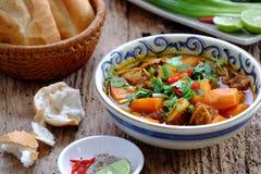 越南食物,面包用被炖的牛肉 库存图片