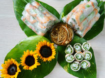 越南食物, goi豺属,沙拉卷 库存照片