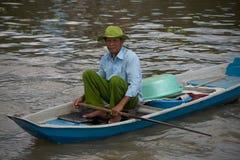 越南,湄公河三角洲浮动市场 库存照片