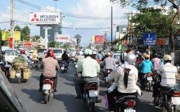 越南:吨二氧化碳emmissions每天在Ho池氏明代市污染空气 免版税库存图片