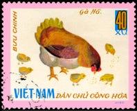 越南-大约1968年:在越南打印的邮票显示与小鸡的母鸡,一系列的家禽 免版税图库摄影