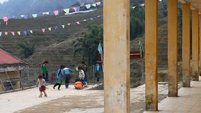 越南 学校在Sapa,在越南的北部的一个多山区域 影视素材
