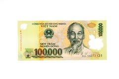 越南货币100,000东钞票 库存图片