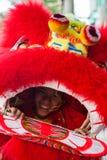 越南- 2012年1月22日:龙舞蹈艺术家在越南新年的庆祝时 免版税库存图片