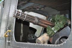 越南-美国直升机的机枪在越南战争期间的 免版税库存照片