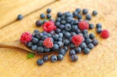 越桔和莓水多的成熟莓果在一把木匙子 免版税库存图片