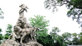 越秀公园五只公羊雕象,广州,中国 图库摄影