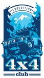 越野汽车商标,徒步旅行队suv,远征offroader 皇族释放例证