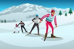 越野滑雪运动员竞争的例证 库存图片