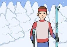 越野滑雪,冬季体育 有站立在积雪的森林传染媒介例证的滑雪的年轻人 库存例证