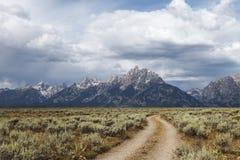越野足迹在大蒂顿国家公园 免版税图库摄影