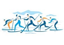 越野滑雪竞赛 库存图片
