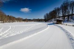 越野滑雪足迹-佛蒙特 库存照片