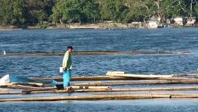 趋向在湖的人们浮动鱼笼子 股票视频