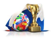 足球与俄罗斯3d il的金黄战利品和旗子的橄榄球球 库存例证