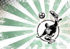 足球减速火箭的海报背景 免版税库存图片