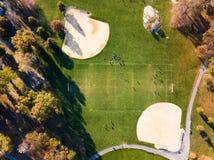 足球和棒球操场鸟瞰图 库存照片