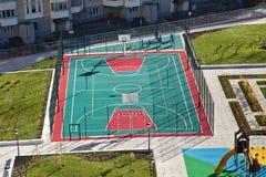 足球和篮球操场鸟瞰图 库存图片