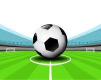 足球在橄榄球场传染媒介中场  皇族释放例证