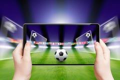 足球在网上,体育比赛 免版税库存照片