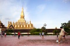 足球在老挝 免版税库存照片